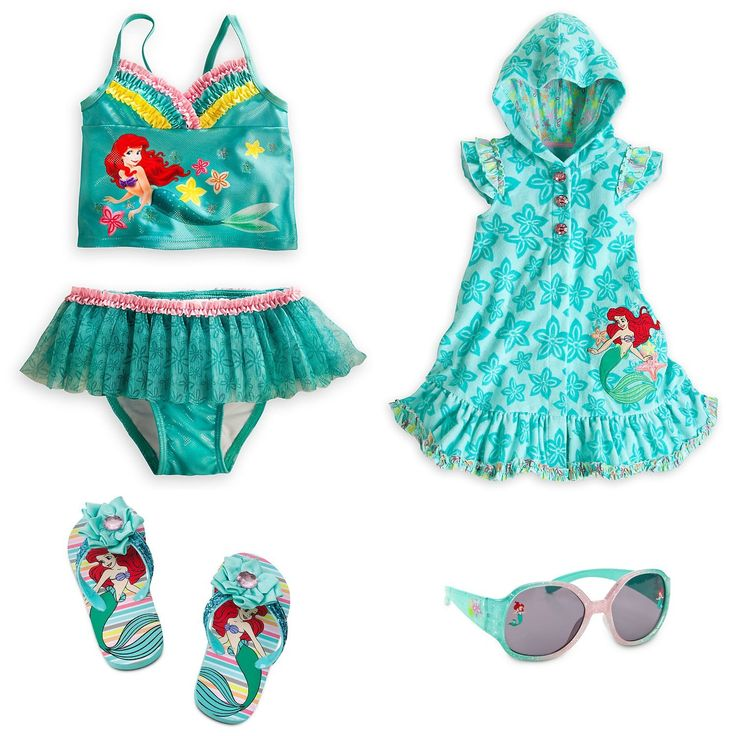 Disney Little Mermaid Princess Ariel Swimsuit Set two pieces swimsuit, cover up, slip flops and sunglasses