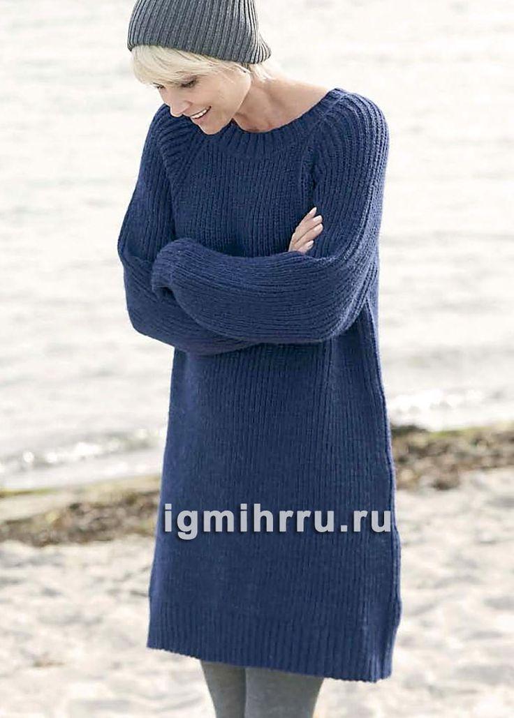 Теплое синее платье-туника, связанное полупатентной резинкой. Вязание спицами