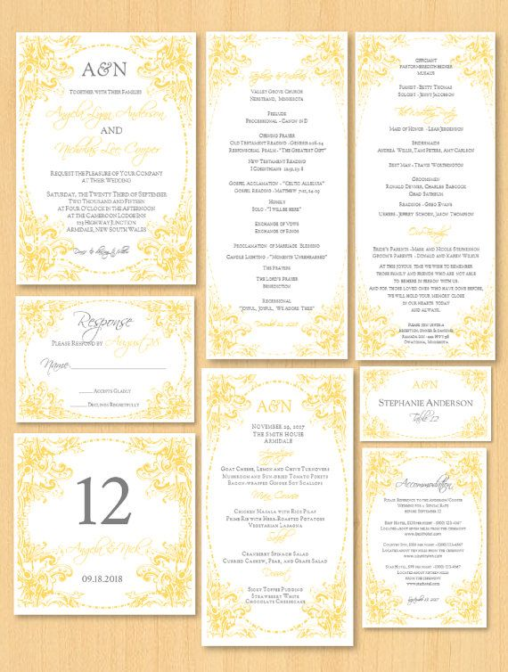 DIY wedding stationery printable template for MS by DIYWedTemplate