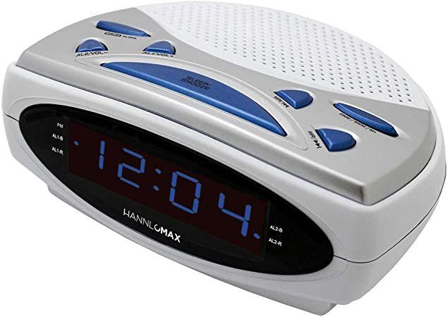 Hannlomax Hx 137cr Alarm Clock Radio Pll Am Fm Radio Dual Alarm 0 9 Quot Blue Led Display White Radio Alarm Clock Alarm Clock Clock