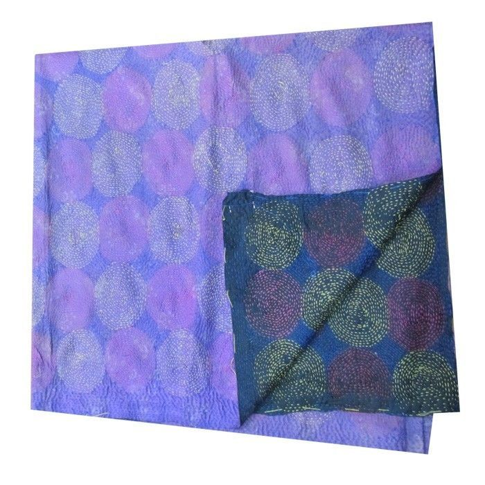 Vintage Silk Hand Quilted Kantha Circle Work Stoles Reversible Shawl Scarf 236
