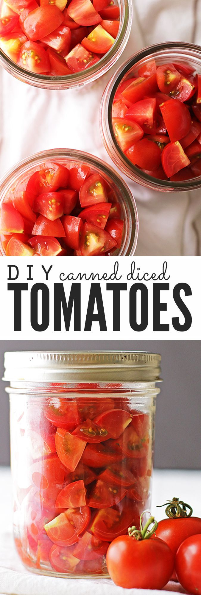 Make your own homemade canned diced tomatoes with this easy recipe and tutorial! It walks you through step-by-step canning tomatoes with the water bath method, so you don't need a pressure canner or any other special equipment. Plus homemade canned diced tomatoes taste way better than store-bought AND you won't have to buy any come winter! :: DontWastetheCrumbs.com