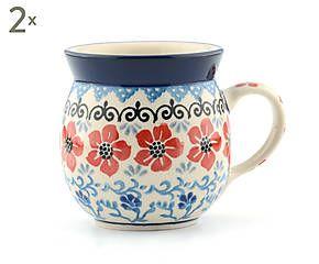 Set di 2 tazze in ceramica Violets - 250 ml
