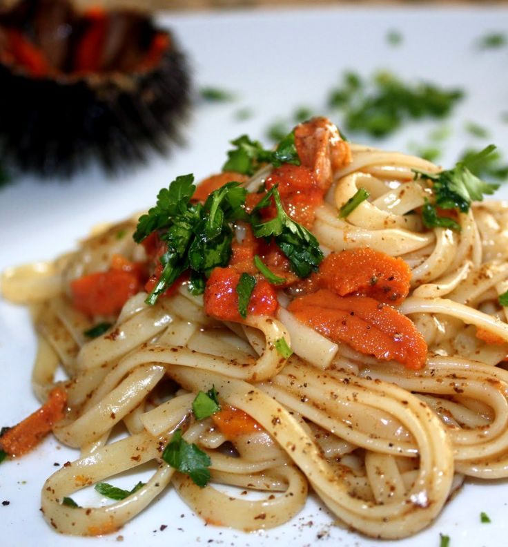 Linguine ai ricci is a delicious #pasta with the sauce on the base of #seaurchins. It is a specialty of #Puglia and one of the favorite delicacies of locals. #AriaLuxuryApulia #SeasideLuxuryVillasPuglia