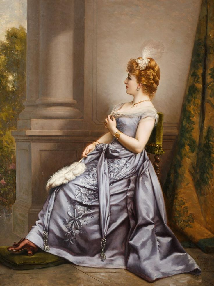 WŁADYSŁAW BAKAŁOWICZ (1833 - 1904)  PORTRET DAMY, 1891   olej, płótno; / 116x89,5 cm