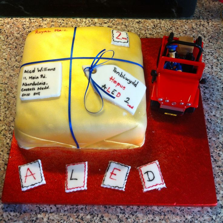 Postman Pat cake for my son's second birthday (in Welsh).