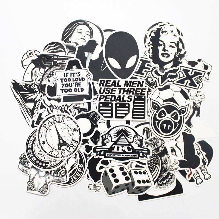100 STÜCKE Schwarz und Weiß Kühler DIY Aufkleber Für Skateboard Laptop Gepäck Snowboard Kühlschrank Telefon Spielzeug Styling Home Decor Aufkleber