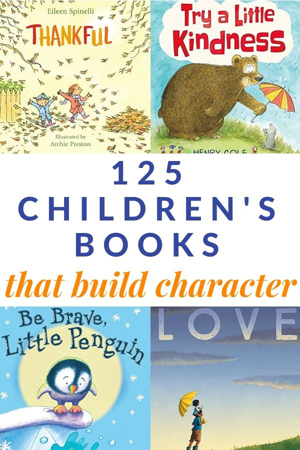 A great list of children's books that teach character! Includes a free printable book list. #childrensbooks #charactercounts #teaching #education #parenting