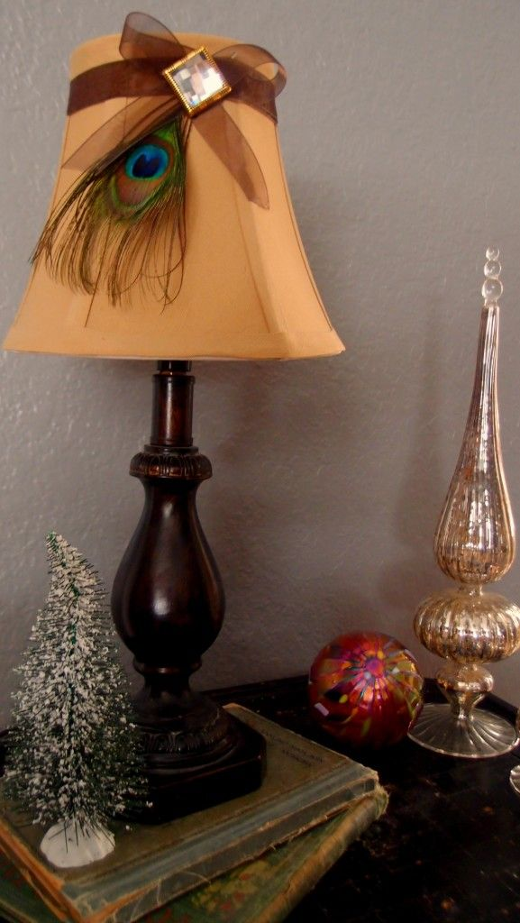 Peacock lamp shade... Cheap and cute way to spruce up a table lamp
