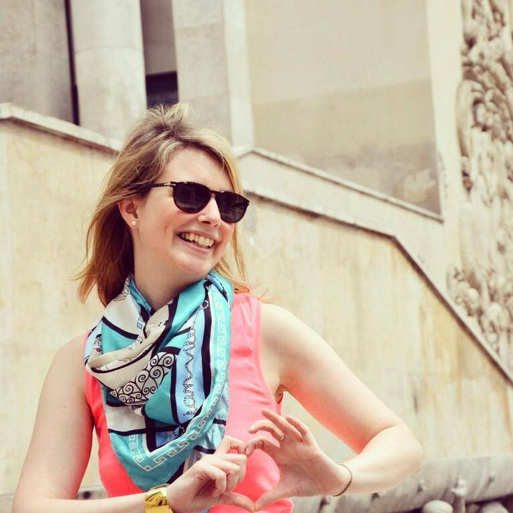 """Grecian Village"" silk scarf by Grecian chic, in Paris!"