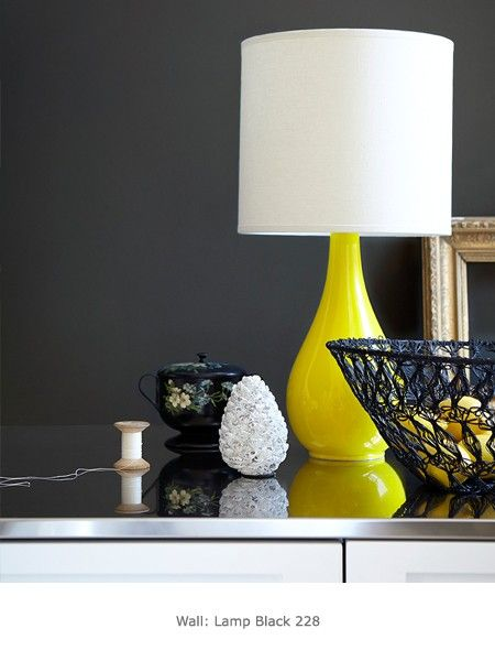 Our Indian Yellow Teardrop lamp shot for Little Greene Paint Company's Grey collection