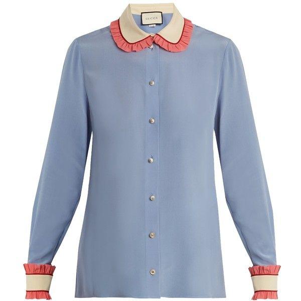 9c53248c0825 Gucci Ruffle-Trimmed Silk Shirt (31.792.605 VND) ❤ liked on Polyvore  featuring tops, clothing /, kirna zabete, ruffled shirt, blue peter pan  collar shirt, ...