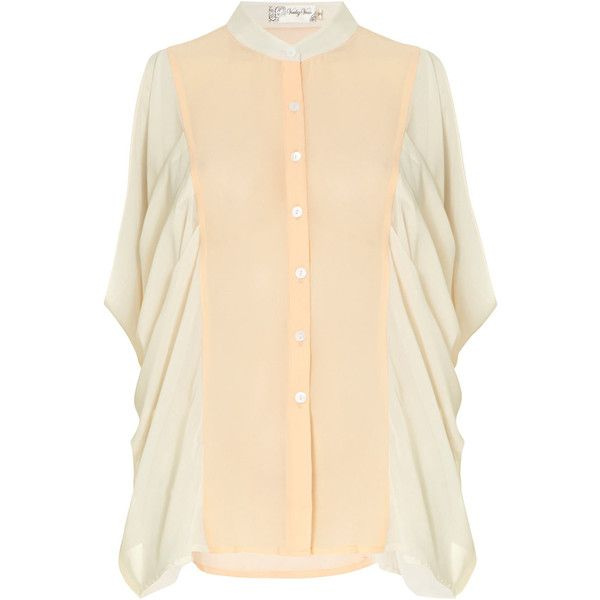 Dorothy Perkins Peach/cream batwing blouse ($5.66) ❤ liked on Polyvore featuring tops, blouses, pink, batwing tops, peach top, chiffon batwing top, batwing blouse and beige top