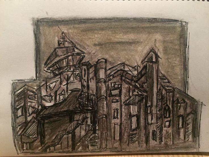S. Scobie.  5x6. XL Graphite. First attempt.  Fine art graphite blocks and ink.  NSW Art Gallery piece.  May 2016.