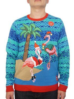 97025449 Holiday Men's Light Up Warm Flamingos Ugly Christmas Sweater, Up to size 2XL