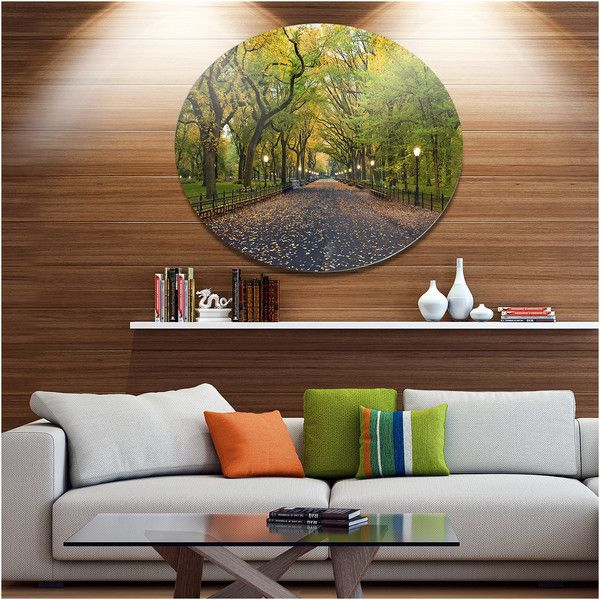 Design Art The Mall Area In Central Park Disc Large Landscape Metal 610 Dkk Liked On Polyvore F Circle Wall Art Landscape Wall Art Circle Metal Wall Art