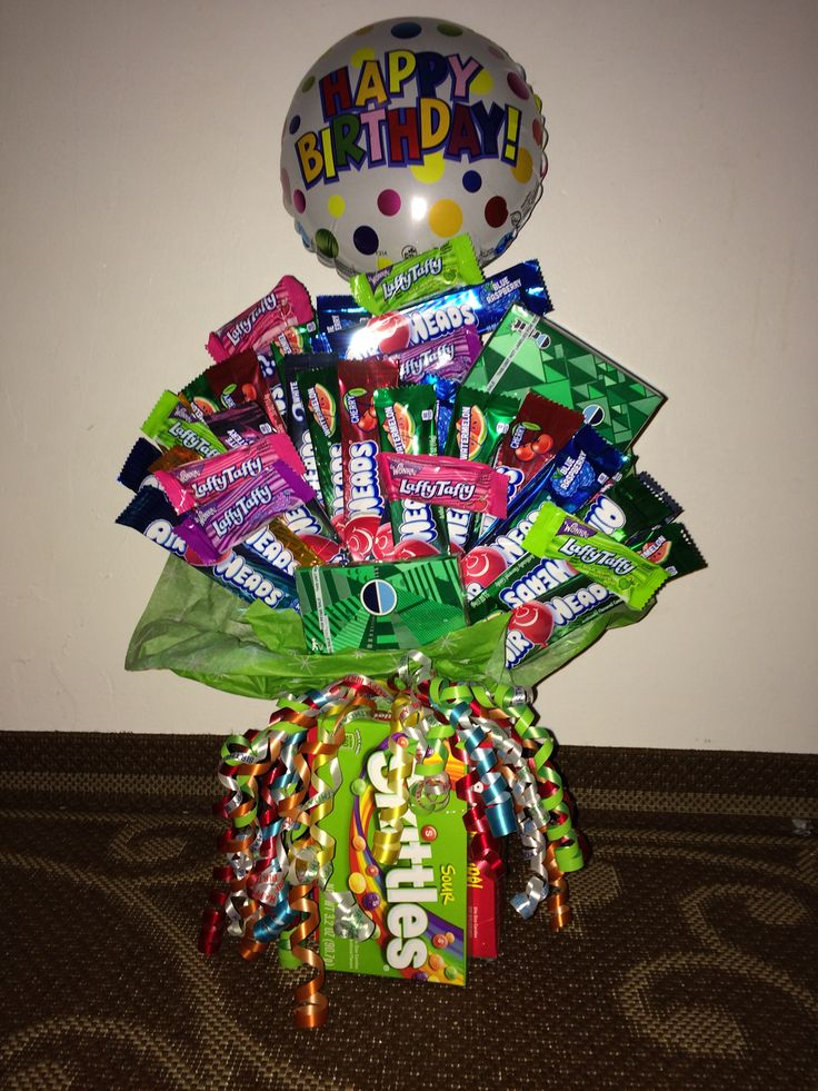 Candy bouquet. Airheads,laffy taffy, skittles and orbit ...