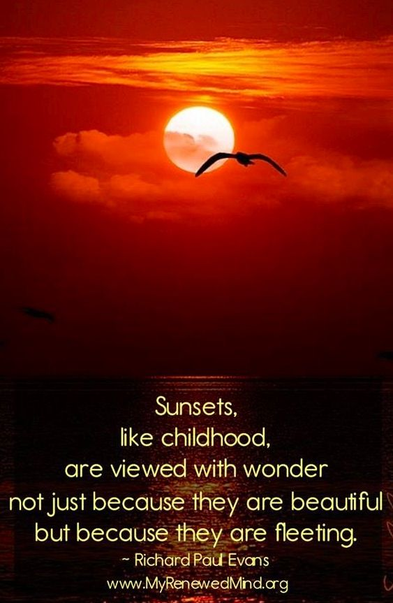Sunsets like childhood, are viewed with wonder not just because they are beautiful but because they are fleeting.