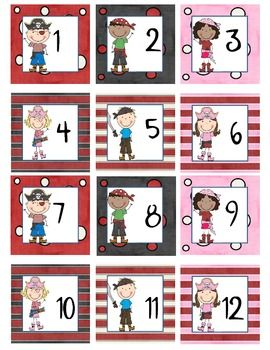 Here is a pirate kids themed calendar set. It contains Calendar Numbers, Days of the Week, Months of the Year, and Today is Tomorrow was questions. The calendar numbers are 2.5 inch squares. The days are 2.5 X 6.5 inches. The months are in two sizes 4 X 10 inches and 2.5 X 6.5 inches These coordinate with other pirate kids themed products in my store.