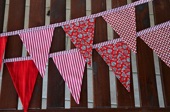 Fabric garland. Flags garland. 9 flags. Bunting banner. Fabric