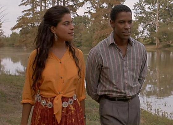 Mississippi Masala (1991):  Sarita Choudhury stars as Meena, the daughter of Indian parents who were expelled from Uganda during a time of racial tension between black Africans and Ugandan-Indians. They move to Miss., where Meena falls in love with an American black man (Denzel Washington).