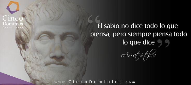 """""""El sabio no dice todo lo que piensa, pero siempre piensa todo lo que dice"""" Aristóteles. Visítenos en www.CindoDominios.com - Somos sus aliados en la optimización de la Cadena de Valor de TIC. #BuenViernes #FelizViernes"""