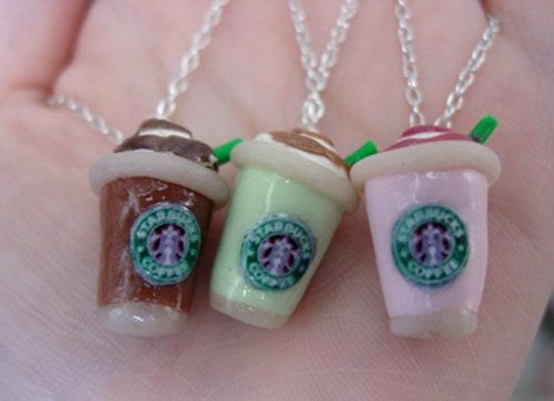Starbucks Strawberry Smoothie, Green Tea Latte, Frappucino Necklace by SimplyEncharming for @Rachel