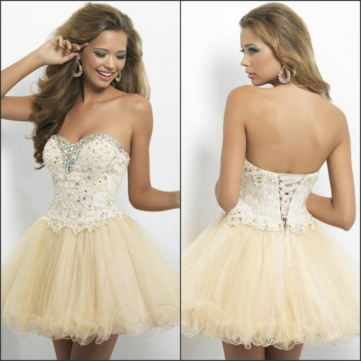 Cute Beaded Ivory Lace Ball Gown Homecoming Dress Corset Short Light Champagne Cocktail and Party Dresses $109.00