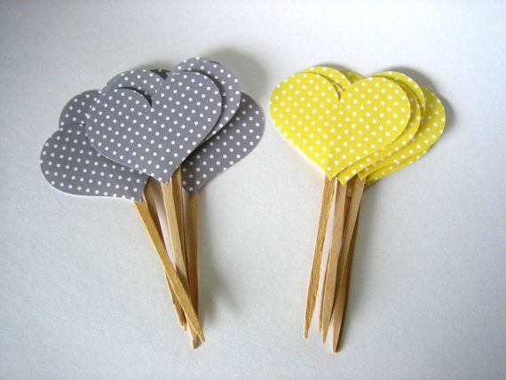 Yellow and Grey Heart Cupcake Toppers  12  by brightsoslight, $5.00