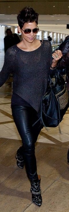 Who made  Halle Berry's gray sweater and print boots?