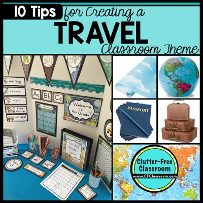 Are you planning a travel themed classroom or thematic unit? This blog post provides great decoration tips and ideas for the best travel theme yet! It has photos, ideas, supplies & printable classroom decor to will make set up easy and affordable. You can create a travel theme on a budget!