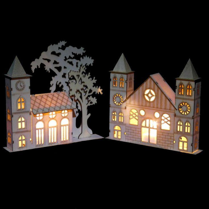 LED Fensterdeko Kirche Weihnachten Deko Weihnachtsdeko Fensterdeko Holz Licht FOR SALE • EUR 4,44