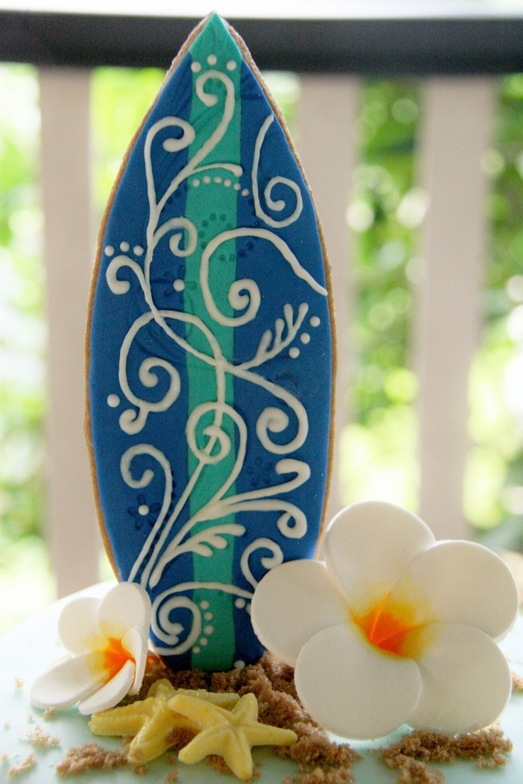Surfboard Ginger Cookie - fondant with royal icing swirls.