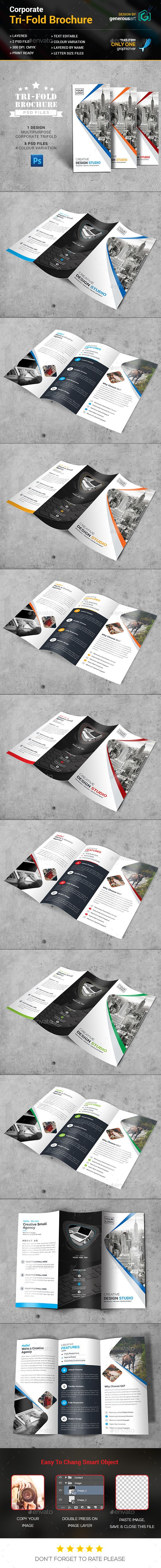 Tri-Fold Brochure Template PSD #design Download: http://graphicriver.net/item/trifold-brochure/14241378?ref=ksioks