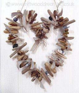 Driftwood heart garland c