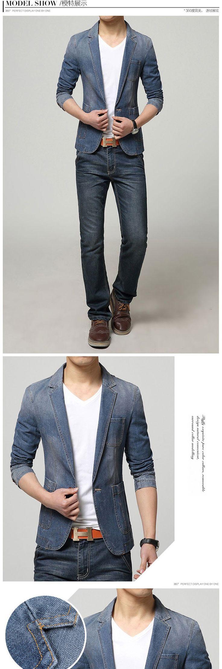 Caliente 2015 nueva primavera moda marca hombres chaqueta de hombre vaqueros de tendencia se adapta al juego ocasional Jean Jacket Men Slim Fit traje chaqueta de mezclilla hombres - La ropa de los hombres baratos