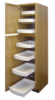 pull out drawers and shelves that slide