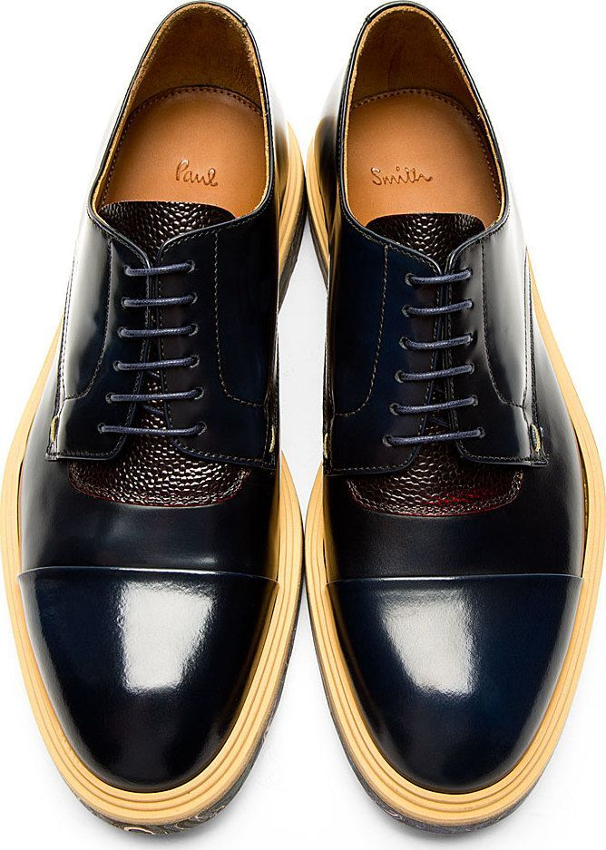 Paul Smith: Navy Marbled Sole Thom Derbys - [for more home and decor…