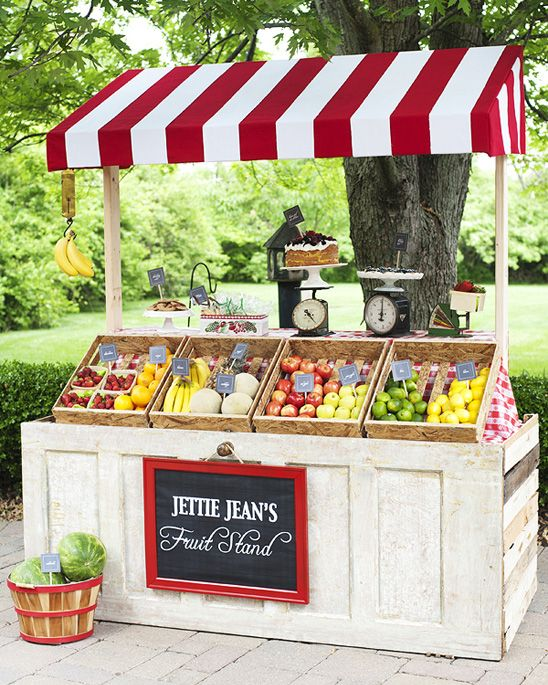 This is how you can sell fruits. the product doesn't matter, the display counts :)  Jettie's Fruit Stand Themed Birthday Party