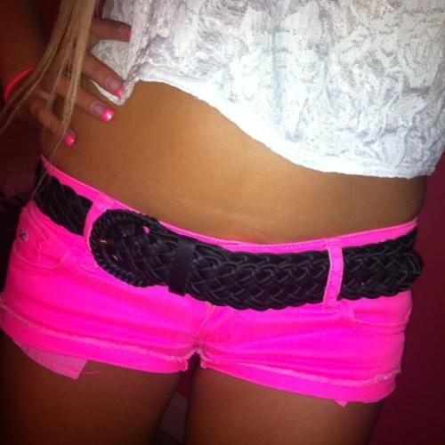 neon pink shorts! <3