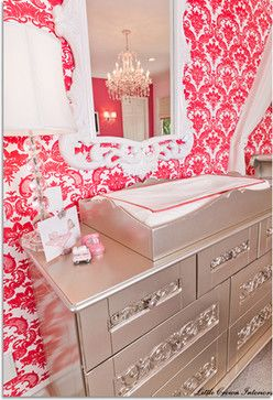silver painted changing table.... I like the silver paint but on a smaller scale piece. Too much on a big piece.
