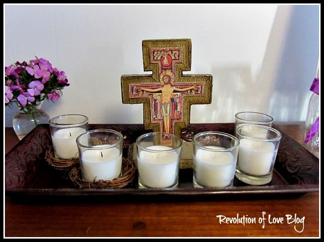 Lent candle tray and wreath ideas on pinterest for Lent decorations for home