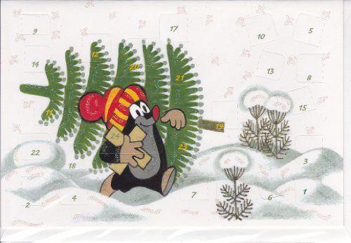 Adventskalenderkarte Kleiner Maulwurf Pauli mit Tanne