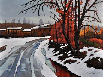 """Canadian Artist Nicholas Bott. """"Snow Deliquesce"""". Oil on Canvas. 30"""" x 40"""". Sold!"""