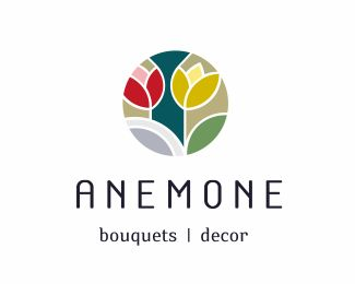 Anemone: bouquets decor - Logo Design - Logomark, Logotype, Flowers, Flower, Tulips, Bouquet, Modern, Clean, Colorfull, Red, Green, Yellow, Gray