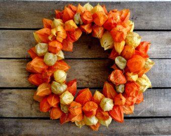 Dried Orange Chinese Lantern Wreath - Fall Decoration - Physalis Wreath - Hanging Wreath