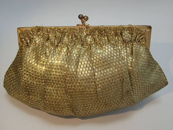 Franse antieke 1920's Flapper gouden Lame handtas Clutch portemonnee Vintage bruiloft