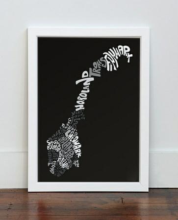 """Plakaten """"Norge"""" (20cm x 30cm)  Norway Typography"""