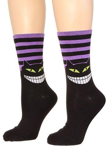 Wicked Wonderland Cheshire Cat Socks $11.00 AT vintagedancer.com #halloween