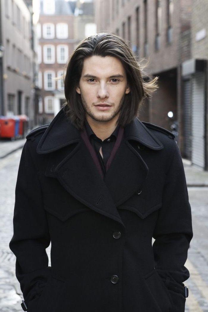 Ben Barnes Medium Length Hairstyle For Men Black Hair Black Coat In 2020 Long Hair Styles Men Long Hair Styles Mens Hairstyles